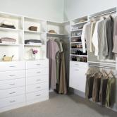White walk in closet organizers